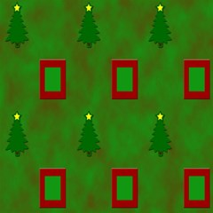Christmas Trees And Boxes Background Magic Photo Cubes by Nexatart