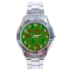 Christmas Trees And Boxes Background Stainless Steel Analogue Watch by Nexatart