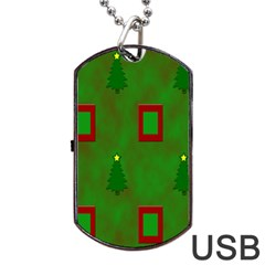 Christmas Trees And Boxes Background Dog Tag Usb Flash (one Side)