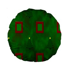Christmas Trees And Boxes Background Standard 15  Premium Round Cushions