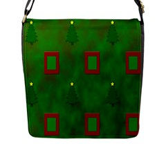 Christmas Trees And Boxes Background Flap Messenger Bag (l)