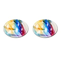 Colour Abstract Cufflinks (oval) by Nexatart