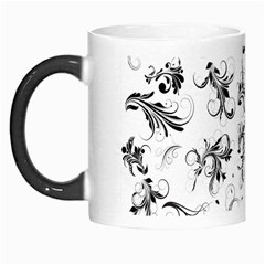 Flower Floral Black Leaf Morph Mugs by Jojostore