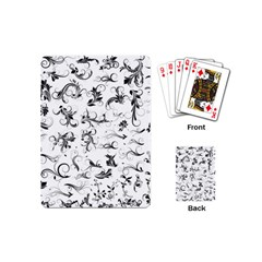 Flower Floral Black Leaf Playing Cards (Mini)  by Jojostore