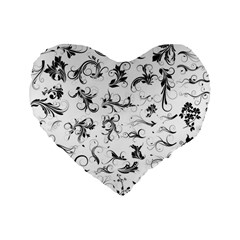 Flower Floral Black Leaf Standard 16  Premium Flano Heart Shape Cushions by Jojostore
