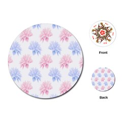 Flower Blue Pink Playing Cards (round)  by Jojostore