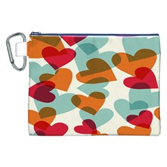 Heart Canvas Cosmetic Bag (xxl) by Jojostore