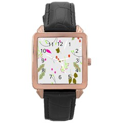 High Res Leaf Flower Fruit Rose Gold Leather Watch  by Jojostore