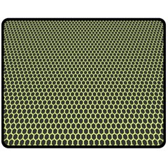 Hexagon Green Double Sided Fleece Blanket (medium)  by Jojostore