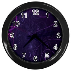 Purple Abstract Spiral Wall Clocks (black) by Jojostore