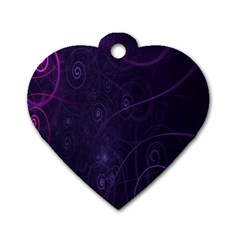 Purple Abstract Spiral Dog Tag Heart (one Side) by Jojostore