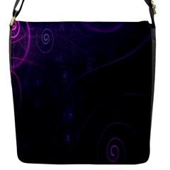 Purple Abstract Spiral Flap Messenger Bag (s) by Jojostore