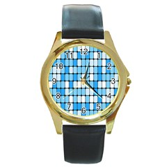 Ronded Square Plaid Blue Round Gold Metal Watch by Jojostore