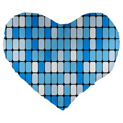 Ronded Square Plaid Blue Large 19  Premium Flano Heart Shape Cushions by Jojostore