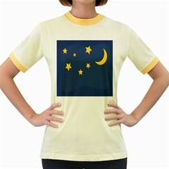 Starry Night Moon Women s Fitted Ringer T Shirts by Jojostore