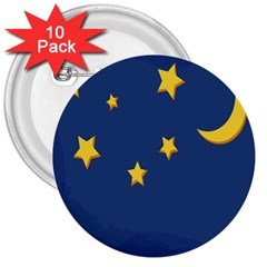 Starry Night Moon 3  Buttons (10 Pack)  by Jojostore