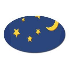 Starry Night Moon Oval Magnet by Jojostore