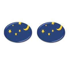 Starry Night Moon Cufflinks (oval) by Jojostore