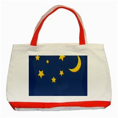 Starry Night Moon Classic Tote Bag (red) by Jojostore