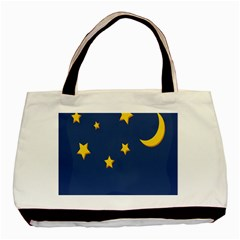 Starry Night Moon Basic Tote Bag (two Sides) by Jojostore