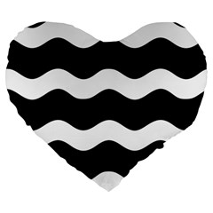 Wave Black Large 19  Premium Flano Heart Shape Cushions by Jojostore