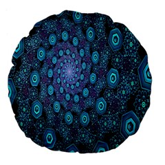 Illusion Spiral Rotation Shape Purple Flower Large 18  Premium Flano Round Cushions by Jojostore