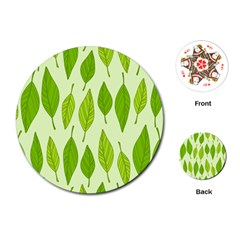 Spring Leaf Green Playing Cards (round)  by Jojostore