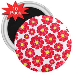 Seamless Floral Flower Red Fan Red Rose 3  Magnets (10 pack)  by Jojostore