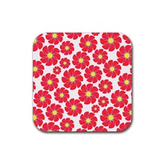 Seamless Floral Flower Red Fan Red Rose Rubber Square Coaster (4 Pack)  by Jojostore