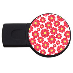 Seamless Floral Flower Red Fan Red Rose Usb Flash Drive Round (2 Gb) by Jojostore