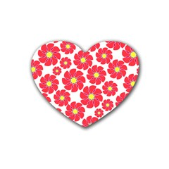 Seamless Floral Flower Red Fan Red Rose Heart Coaster (4 Pack)  by Jojostore