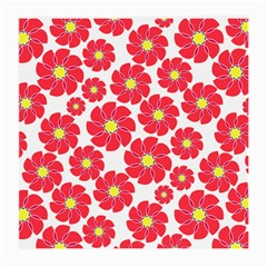 Seamless Floral Flower Red Fan Red Rose Medium Glasses Cloth (2 Side)