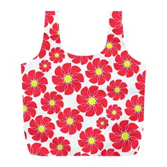 Seamless Floral Flower Red Fan Red Rose Full Print Recycle Bags (l)  by Jojostore