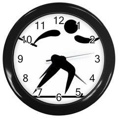 Cross Country Skiing Pictogram Wall Clocks (black) by abbeyz71