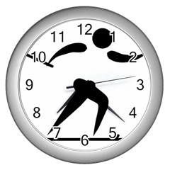 Cross Country Skiing Pictogram Wall Clocks (silver)  by abbeyz71