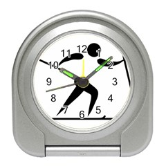 Cross Country Skiing Pictogram Travel Alarm Clocks by abbeyz71