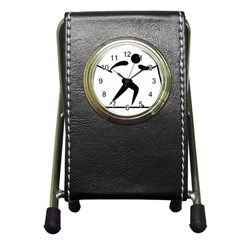 Cross Country Skiing Pictogram Pen Holder Desk Clocks by abbeyz71