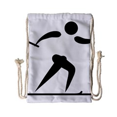 Cross Country Skiing Pictogram Drawstring Bag (small) by abbeyz71