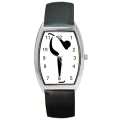 Figure Skating Pictogram Barrel Style Metal Watch by abbeyz71