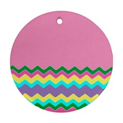 Easter Chevron Pattern Stripes Ornament (round) by Nexatart