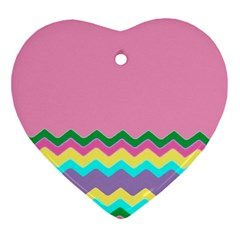 Easter Chevron Pattern Stripes Ornament (heart) by Nexatart
