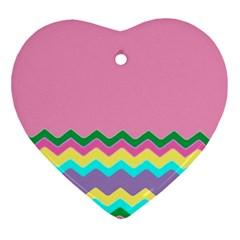 Easter Chevron Pattern Stripes Ornament (Heart) by Nexatart