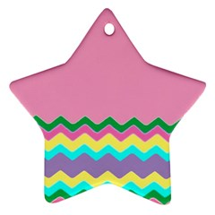 Easter Chevron Pattern Stripes Ornament (Star) by Nexatart