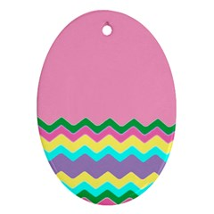 Easter Chevron Pattern Stripes Oval Ornament (two Sides) by Nexatart