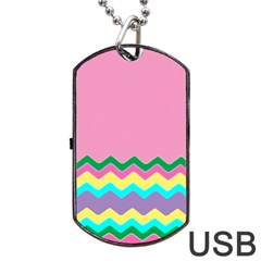 Easter Chevron Pattern Stripes Dog Tag Usb Flash (two Sides)