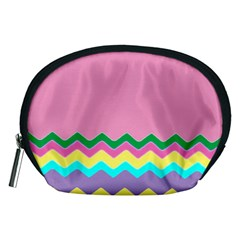 Easter Chevron Pattern Stripes Accessory Pouches (medium)  by Nexatart