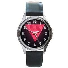 Geometric Triangle Pink Round Metal Watch