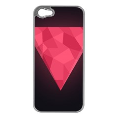 Geometric Triangle Pink Apple Iphone 5 Case (silver) by Nexatart