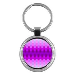 Geometric Cubes Pink Purple Blue Key Chains (round)  by Nexatart