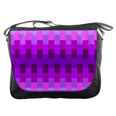 Geometric Cubes Pink Purple Blue Messenger Bags